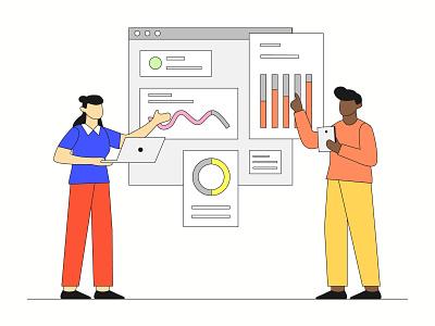 Data Analytic data analysis analysis analytic lineart vintage icon landing page presentation startup agency company corporate business mobile app dashboard website flat scene vector illustration