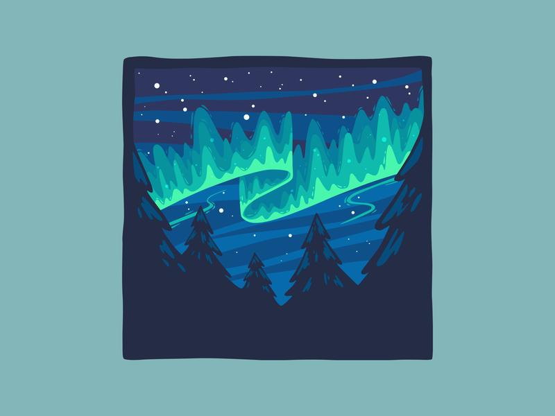 Northern Lights sky night aurora borealis northern lights illustration vector design