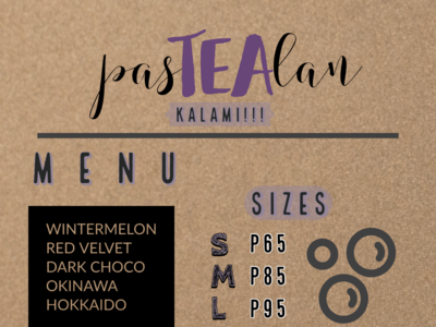 Milk Tea Menu website graphic design art illustrator web ui typography minimal branding design