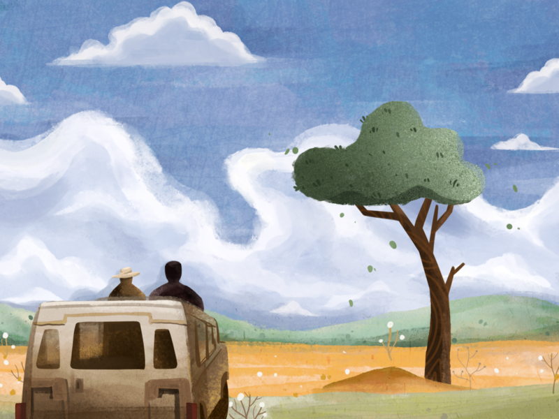 [Movie Memory] The Bucket List tree sky car movie illustration