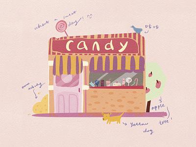 Candy shop dog candy illustration
