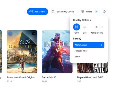 Arcadio View Options gaming search clean ui clean app web arcadio games list grid filter sort