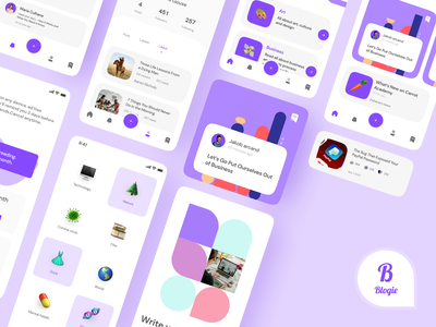 Blogie - Blog UI KIT product page productdesign mobile design design app uidesign blog app product ui kits ui8 ui kit blog logo clean design app mobile app ux ui ux design design ui clean ui