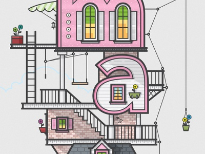 Flower House pink baby girl house vector illustration brick wood