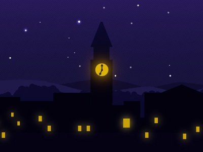 Save The Date - Bell Tower purple light gold