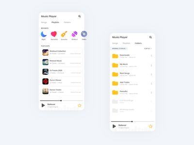 Music Player Concept folder design playlists music application music app design music app ui music app mobile app design music player