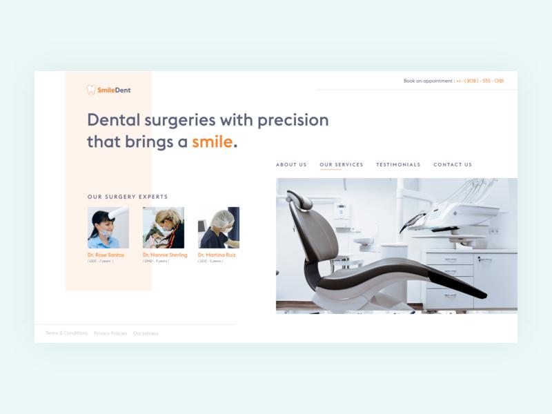 Dentist Web UI webdesigner minimalist design dentist creative web design creative website webui webdesign