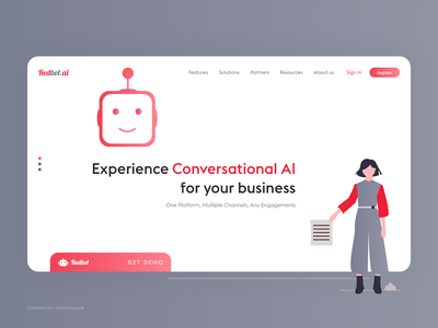 Homepage for Artificial Intelligence Product machine learning website ai enterprise enterprise website enterprise ux ai product homepage chatbot artificial intelligence