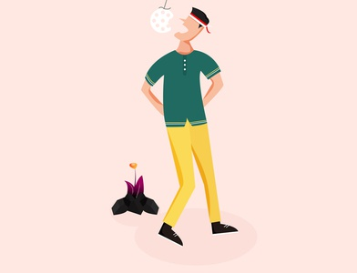 Cracker eat competition flat vector design illustration