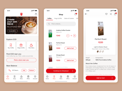 Cafe Coffee Day App Design