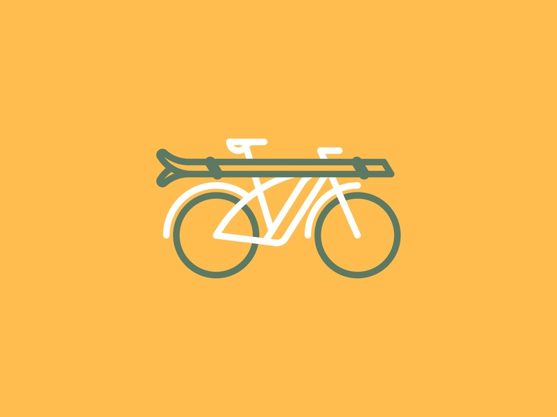 Groomer Cruiser icon ebike skiing ski bicycle bike line drawing vector illustration