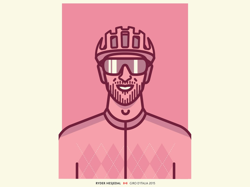 Ryder Hesjedal helmet sunglasses argyle pink giro portrait cycling line drawing vector illustration