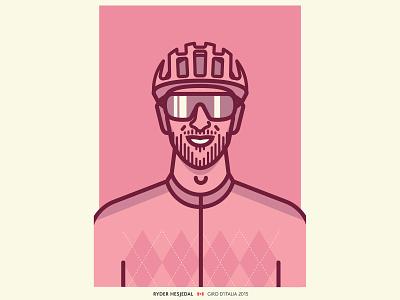 Ryder Hesjedal helmet sunglasses argyle pink giro portrait cycling line drawing vector illustration