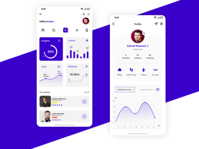 A simple  UI  Fitness App with a simple UX mobile ui illustrator ui ux uidesign mobile illustration graphic design design app animation