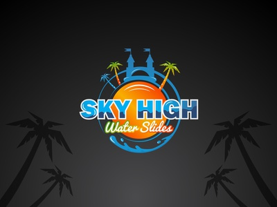 Sky High Water Slides vector design logo