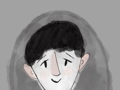 Ghost boy simple portrait watercolor design illustration
