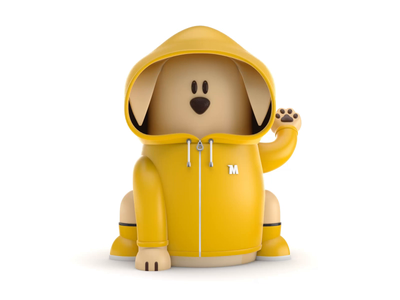 Maneki-Neko Dog 3D - Raincoat illustration 3d animation hand paw dog raincoat branding ui  ux character logo motion design landing page web animation 3d art 3d