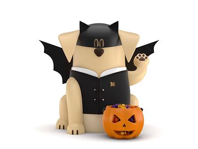 Maneki-Neko Dog 3D - Halloween illustration animation candy dog web landing page ux ui characters logo icon branding motion design 3d animation 3d