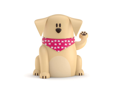 Maneki-Neko Dog 3D illustration landing page web dog characters ux branding ui logo icon motion design 3d animation 3d