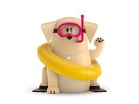 Maneki-Neko Dog 3D - Swimming
