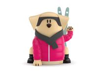 Maneki-Neko Dog 3D - Skier