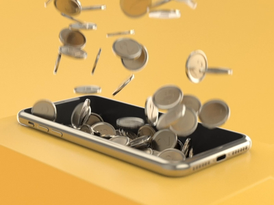 Dropping coins isometric cinema 4d coins phone motion animation 3d