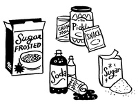 Unhealthy Grocery Items illustration