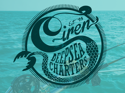 Siren Deepsea Charters illustration smallbusiness charter fishing fishing design logo
