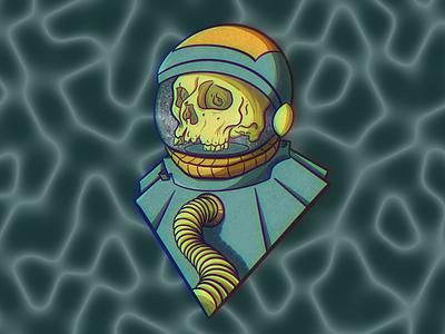 Cosmic Tomb skulls sci-fi horror space illustration astronaut