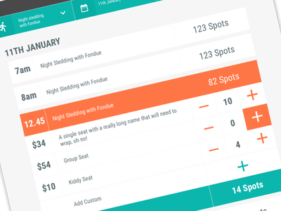 Ticket Selection tourism ecommerce shopping cart ux design ux ticket selection