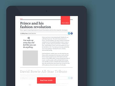 Tablet Magazine Article design web ui ux ipad read more advertising typography magazine