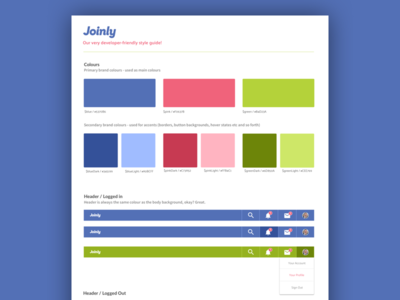 Joinly Style Guide headings logo navigation branding app guide style style guide
