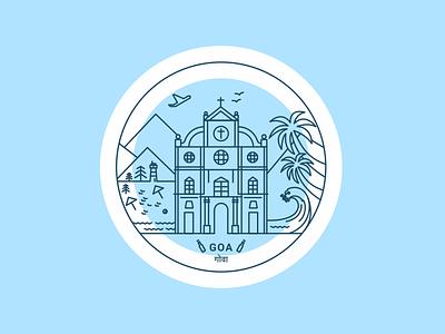 Goa, India beer church fort place tourist india goa design lineart art vector illustration