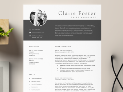 One Page | Two Page Professional Resume Template minimal resume cover page minimalist design job application job listing job resume template word references cover letter template cv template cv resume job search professional resume template resume template branding clean resume job resume curriculum vitae
