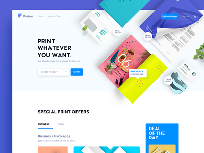 Print Whatever You Want blue plants paper awesome clean website landing page ux ui press print