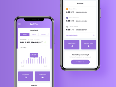 2018-Shot-18 receive send sell buy coins bitcoin dashboard showcase money material design android ux cards ui
