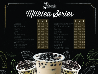 Proverbs Milktea Menu branding design