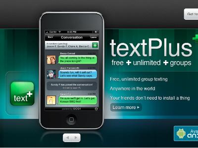 textPlus Website homepage photoshop texture iphone web