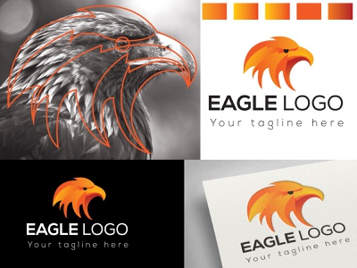 Eagle Tracing logo fly orange color tracing logo brand eagle bird flyer wing business vector logo design branding