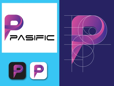 Pasific Abstract Logo wordmark logo font letter business card minimalist minimalist logo unique logo unique p p logo modern logo minimal creative logo company business logo apps logo business branding brand