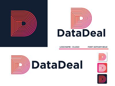 Data Deal minimalist, abstarct, lettermark logo design branding brand visual identity technology tech studio real estate network media marketing logo letter identity entertainment digital data d logo d letter d app