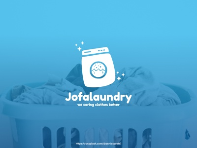 Jofa Laundry Logo with background modern simple laundry service fashion company shop business laundry fun logo mascot logos logo