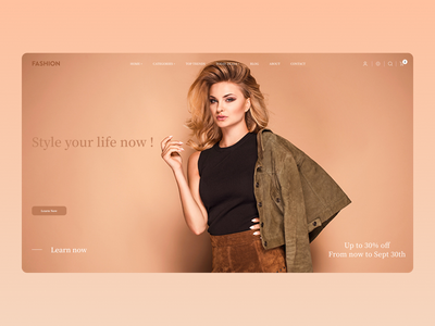 Fashion Landing Page illustrator web ux icon branding minimal website ui typography design