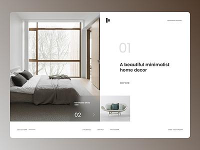 Home Decor Landing Page graphic design branding illustrator web ux minimal website ui typography design