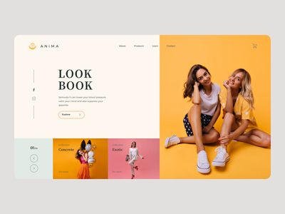 Summer Style Landing Page illustrator web ux minimal website ui typography design