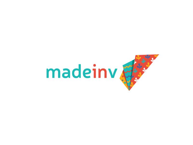 Made in V indian pattern textile logotype logo