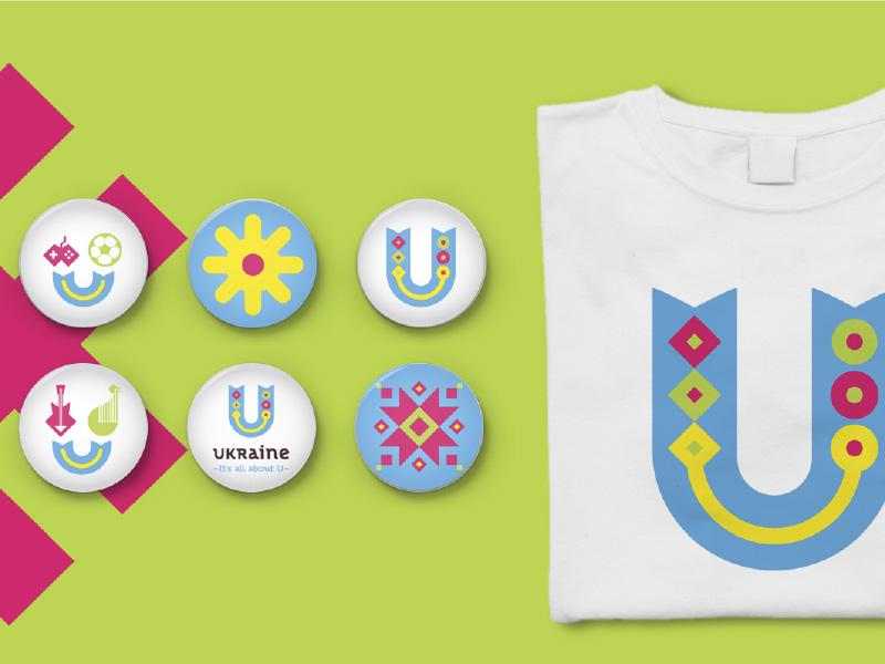 Ukraine icons lettering pattern ukraine country traditional positive logo logotype brand