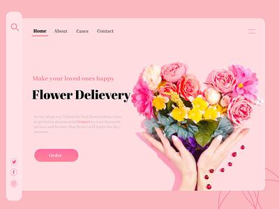 Flower Delivery landing page concept minimalist modern flat order flowerdesign flower ui