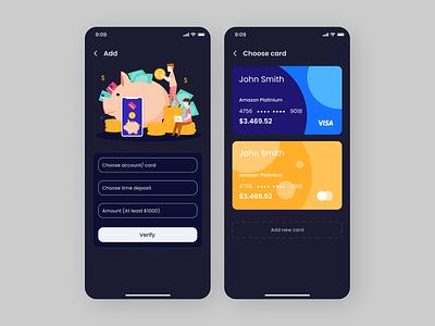 Cards Payment App flat art design ui app modern