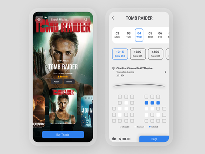 Online movie ticket booking App ui ux minimal design app